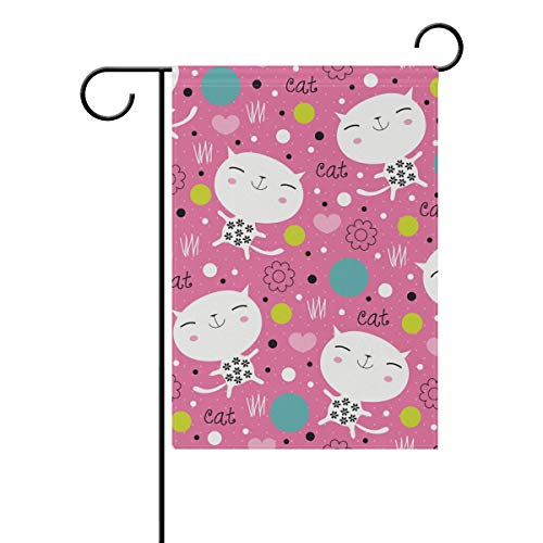 MONTOJ Front Yard Flag Endearing Kitty Garden Flags Double Sides Printed Multi-Pattern