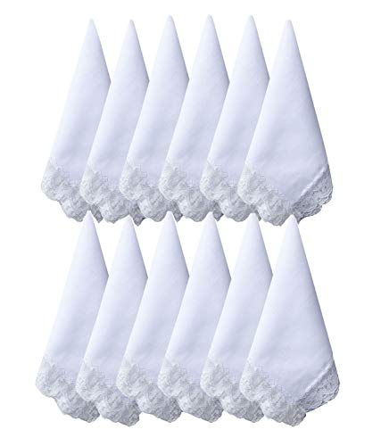 - 6/12 Pack of Ladies White Perfect Wedding Lace Cotton Handkerchiefs