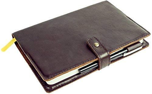 """Leather Journal Cover - BestSelf Co. Self Shield (8. 25"""" x 5.5"""") - Premium Fine-Grain Leather - Supple Texture Looks - Ages Beautifully - Durable - Two Naturally Appealing Colors"""