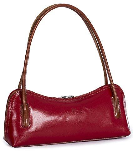 LIATALIA Genuine Italian Leather Small Satchel Clutch Evening Shoulder Bag - ARYA [Red - Tan Trim]