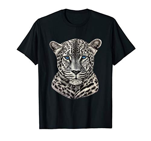 Snow Leopard with Blue Eyes Tee Shirt, Beast Clothing Gifts