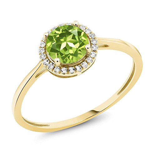 Green Peridot Ring (10K Yellow Gold Diamond Engagement Ring Round Green Peridot (Ring Size 9))