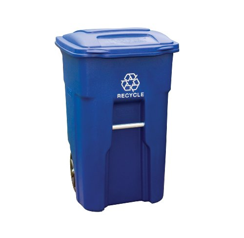Toter 025532-R1BLU Residential Heavy Duty 2-Wheeled Recycling Can with Attached Lid, 32-Gallon, Blue