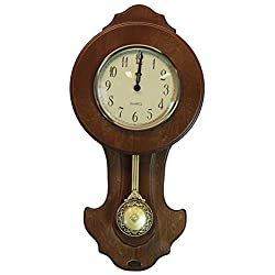 Uniquewise QI003195 Transitional Pendulum Wall Clock Solid Wood Walnut Finish, 10 in. W x 3 in. D x 20 in.H