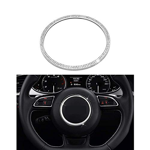 (Senauto Bling Steering Wheel Center Cover Trim Decoration Sticker Fit for Audi A3 A4L A5 Q3 Q5)