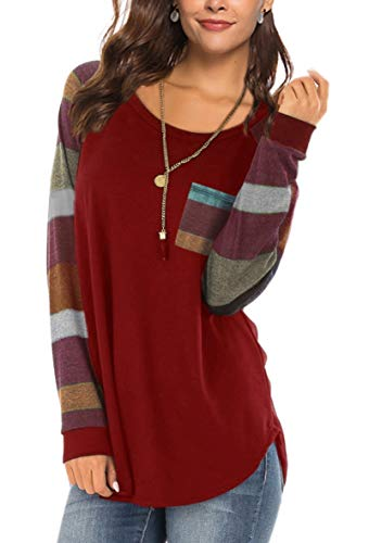 Womens Fall Tops Casual Striped Long Sleeve Blouses Shirts for Leggings 2018 Cotton Tshirts Burgundy XL