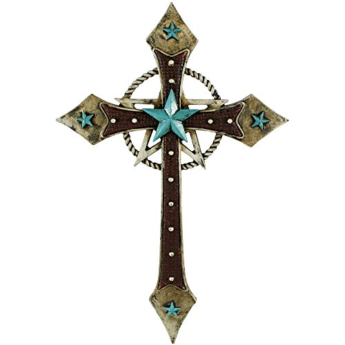 Pine Ridge Western Leather Look Christian Family Wall Hanging Cross Home Decor - Catholic Wall Art With Turquoise Star and Golden Rope Centerpiece - Decorative Rustic Confirmation Holy Cross (Framed Turquoise Earrings)