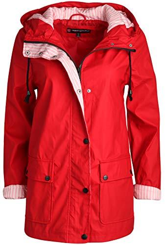 (Urban Republic Women\\\'s Lightweight Vinyl Hooded Raincoat Jacket, Red, Small\'')