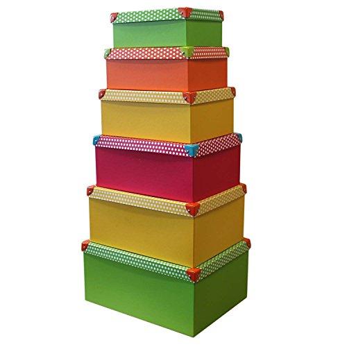 6er Set Boxenset Punkte mit Deckel Stapelbox Dekobox Deko Karton Allzweckbox Allzweckkiste Box Kiste Aufbewahrungskiste Aufbewahrungsbox Aufbewahrung