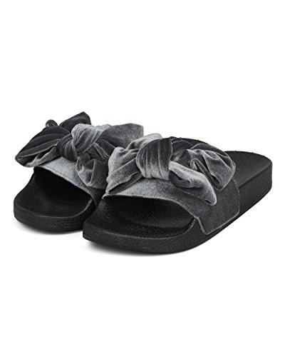 Scivolo Modellato Alrisco Da Donna - Papillon Slip On Sandalo - Sandalo Trendy Sandalo Moda Casual Lounging - Hd44 By Qupid Collection Velluto Grigio