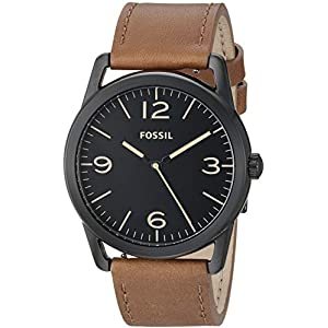 Fossil Men's ' Ledger Quartz Stainless Steel and Leather Watch, Color:Brown (Model: BQ2305)