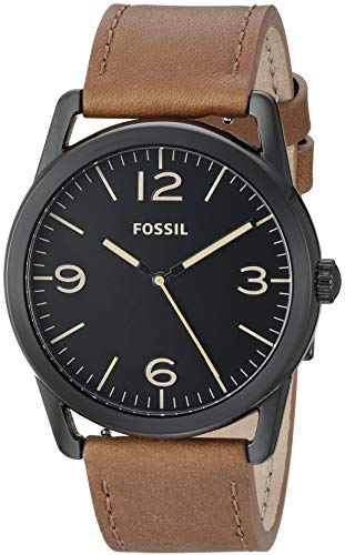 Fossil Men's ' Ledger Quartz Stainless Steel and Leather Watch, Color:Brown (Model: BQ2305