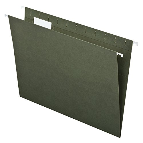 Pendaflex Essentials Hanging Folders, Letter Size, 1/5 Cut Tabs, Standard Green, 25 per Box (81602) (Green File Folders Letter)