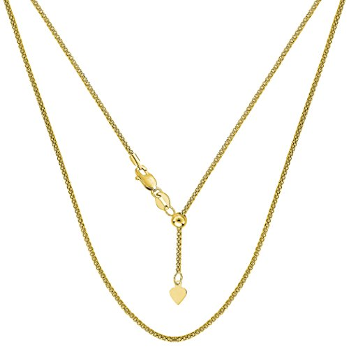 (14k Yellow Gold Adjustable Popcorn Link Chain Necklace, 1.3mm, 22