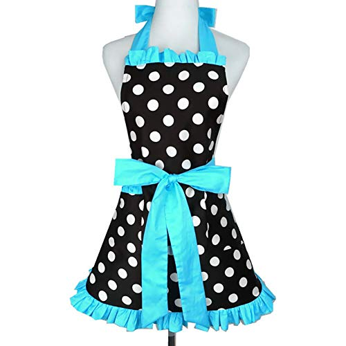 (Lovely Vintage Sweetheart Red Bib 100% Cotton Apron Dress Christmas Fashion Flirty Retro Kitchen Women Polka Dot Apron Gift (Blue))
