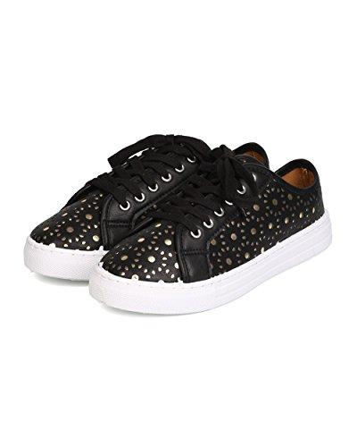 Qupid Gk01 Kvinner Leather Perforert Metall Snøring Sneaker - Svart