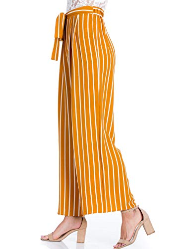 Design by Olivia Women's Stripe Print Waist Self Bow Tie Crepe Long Pants,Ipaw035 - Khaki Women Shorts : Pleated