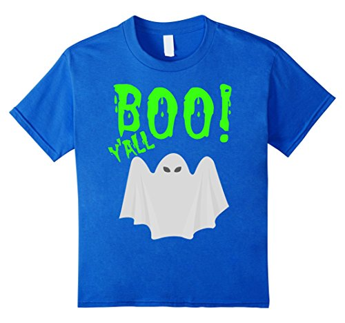 Kids Boo Y'All Halloween T-Shirt Ghost Costume Neon 80s Green 4 Royal Blue
