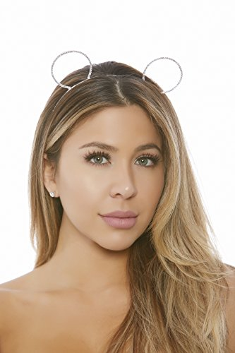 (Forplay Women's Rhinestone Mouse Ears, Silver, O/S )