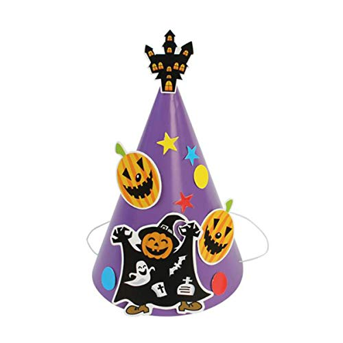 Bestoyard De Bande Dessinée Casquettes D'artisanat Halloween Chapeau De Papier De Bricolage Fournitures Robe De Fête De Mascarade À La Main Pour Les Enfants Enfants (bleu Violet)