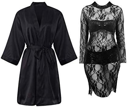 1c8ff440a7e IngerT 5Pcs Nightwear Wedding Night Out Dress Set Silk Like V Neck ...