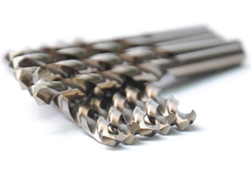 DRILLFORCE 1/8 inch, HSS Twist Drill Bits,5% Cobalt Jobber Length Twist Drill Bits,10pcs in Plastic Bag, ideal for drilling on mild steel, copper, Aluminum, Zinc alloy etc. (1/8)