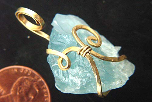 (14kt Gold FIlled Hand Wire Wrapped Raw Natural Aquamarine Crystal Pendant with GP Chain Necklace)