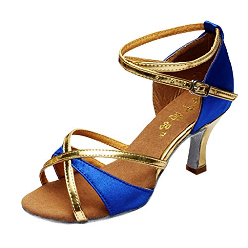 Seaintheson Women's Pumps Dance Shoes, Girl Latin Dance Shoes Mid-Heels Satin Sandals Ballroom Salsa Wedding Party Shoes Blue