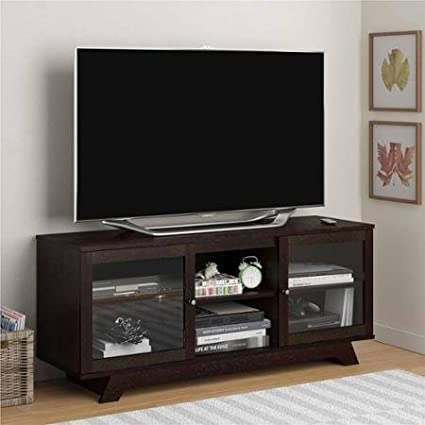 Amazon Com Cinnamon Cherry Transitional Tv Stand For Tv S Up To 55
