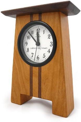 Modern Artisans Craftsman Style Desk Clock, Cherry and Walnut, 7.5