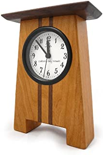 product image for Modern Artisans Craftsman Style Desk Clock, Cherry and Walnut, 7.5""