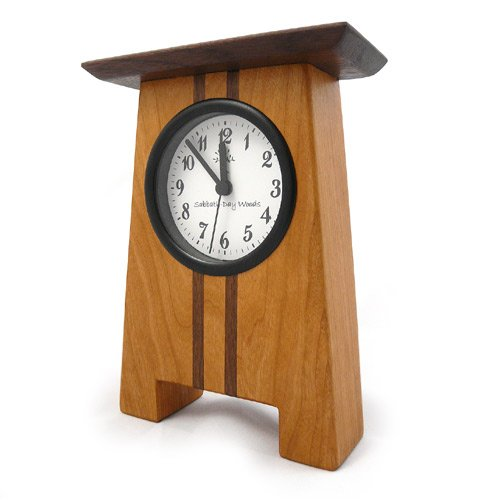"Modern Artisans Craftsman Style Desk Clock, Cherry and Walnut, 7.5"""