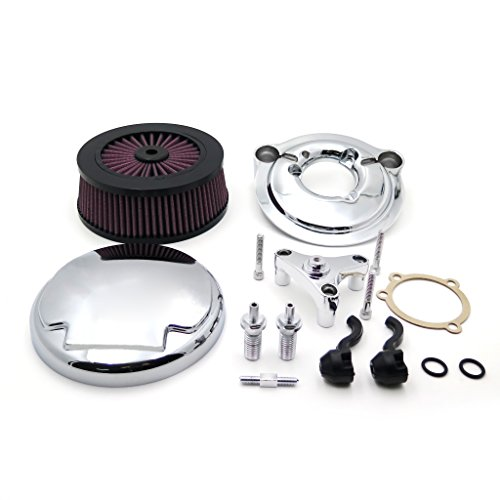 SMT MOTO- Motorcycle Chrome Skull with Black Eyes Air Cleaner Intake Filter System Kit For Harley Davidson 2007 later XL Sportster 1200 Nightster 883 XL883 Low XL1200L Seventy Two Forty ()