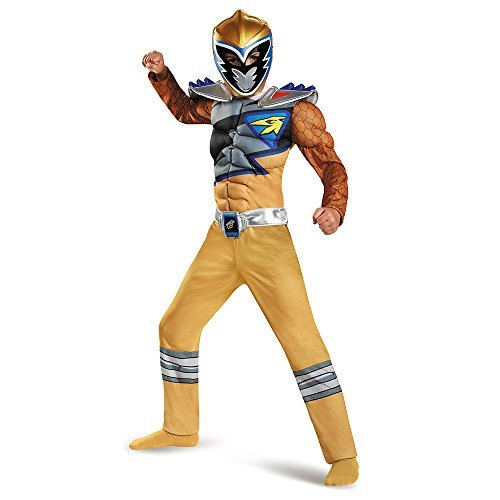 Disguise Gold Ranger Dino Charge Classic Muscle Costume, Large (10-12) by Disguise (Power Rangers Gold Ranger Costume)