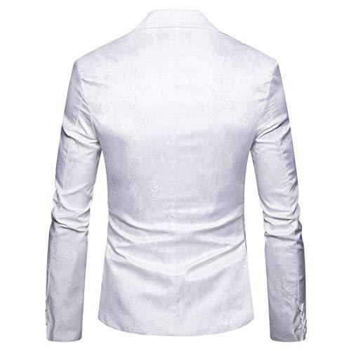 Blanc Veste Vêtements Loisirs Vestes Un Manches Longues Homme À Slim Avec Blazer Costume Paisley Pour Hommes Revers Elégant Bouton Coupe Casual Mariage 51dSqIwO