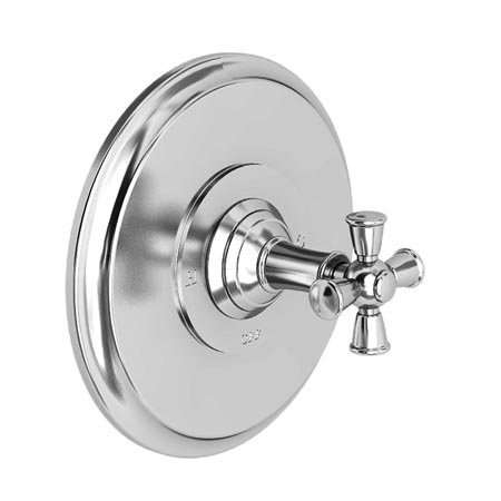 Newport Brass 4-2404BP Single Handle Shower Valve Trim with Metal Cross Handle L, Forever Brass (PVD)