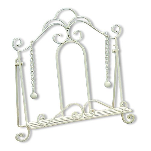 Gastro Chic Cook Book Stand, Artisinal Design, White, Weighted Drop Chain Page Holders, Iconic Scroll Work Details, Easel Back, 13 3/4 Inches Tall