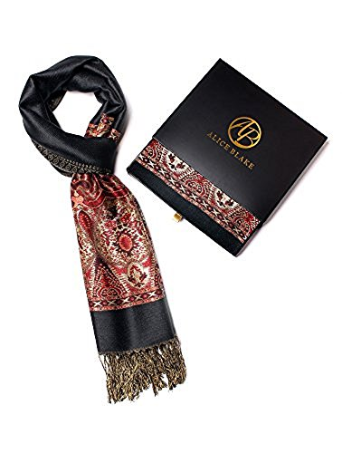Alice Blake Premium Metallic Paisley Pashmina Scarf Shawl Wrap Free Gift ()