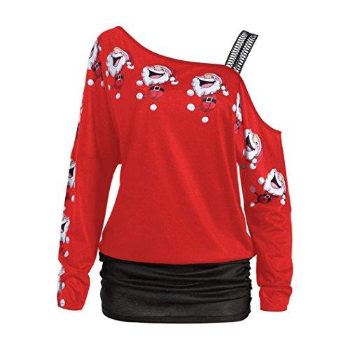 BeautyTop Donna Manica Lunga Camicetta Natale Maglietta T-shirt Felpa Maglia Blusa Pullover Maglie a manica lunga Invernale Rosso#1