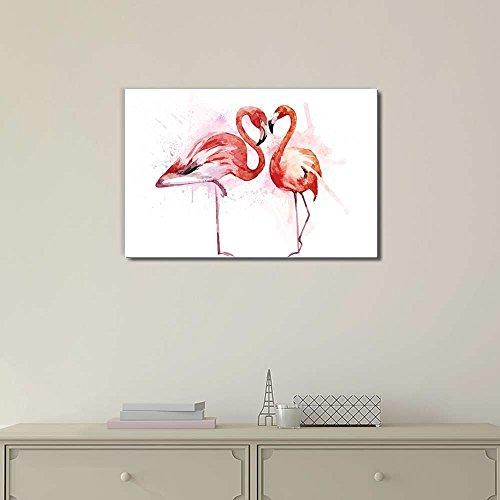 Beautiful Watercolor Painting of Two Flamingos Print