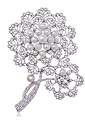 Silver Tone Faux Pearl Rhinestone Two Dandelion Flowers Fashion Pin Brooch