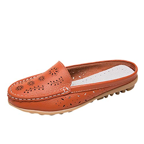 〓COOlCCI〓Women's Leather Casual Cut Out Loafers Flat Slip-on Shoes Comfort Driving Flats Shoes Loafers Oxfords Orange