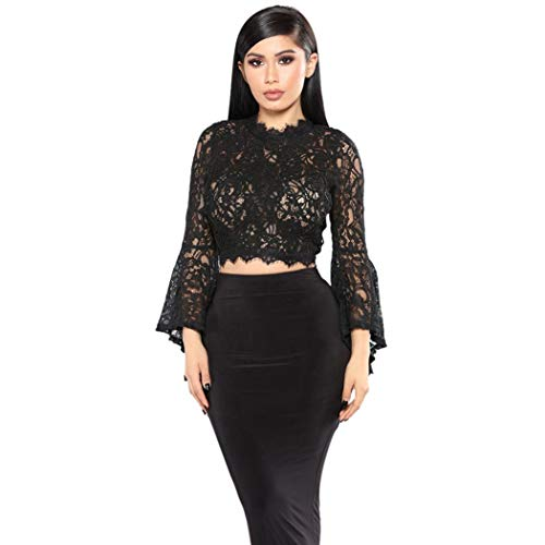 Big Clearance! Women Long Flare Sleeve Tops Daoroka Ladies Sexy Lace See Through Mesh Lace Ruffle Solid Pullover Blouse Casual Loose Fashion Cute Autumn Winter Comfort Tunic T Shirt