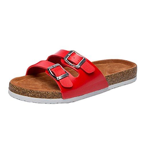 Toe Playa Sandalias Cayuan Casual Mujeres Peep Zapatillas Plano Zapatos Rojo Correas Bppf8qWA