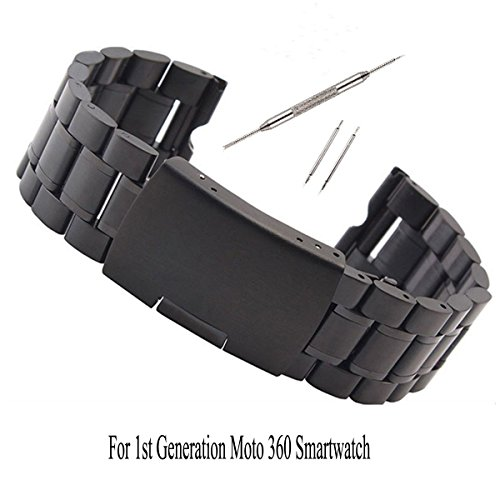 Gen Metal (Kuxiu 22mm Stainless Steel Metal Watch Band Strap Bracelet for Motorola Moto 360 1st Gen Black+Tools)