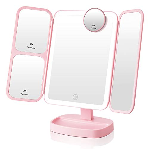 Easehold Makeup Vanity Mirror with 1000LUX Bright LEDs Soft Natural 1X/2X/5X/10X Magnifying -