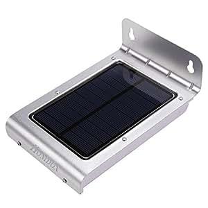 homdox 323824LED Lámpara solar con detector de movimiento solar alimentado resistente al agua inalámbrica para pared jardín patio