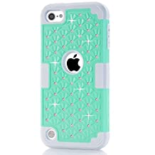 IPod Touch 5/6 Case,LUOLNH iPod Case starlight Dual Layer Protective Hard Impact Case Cover for Apple iPod touch 5th/6th Generation(Turquoise/Grey)