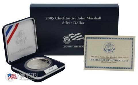 2005-P US Mint Justice John Marshall Commemorative Silver Dollar PROOF BOX /& COA
