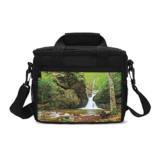 Waterfall Decor Durable Lunch Bag,Waterfall in Spring like Winter in Bulgaria with Trees and Bushes for Picnic Travel,9.4